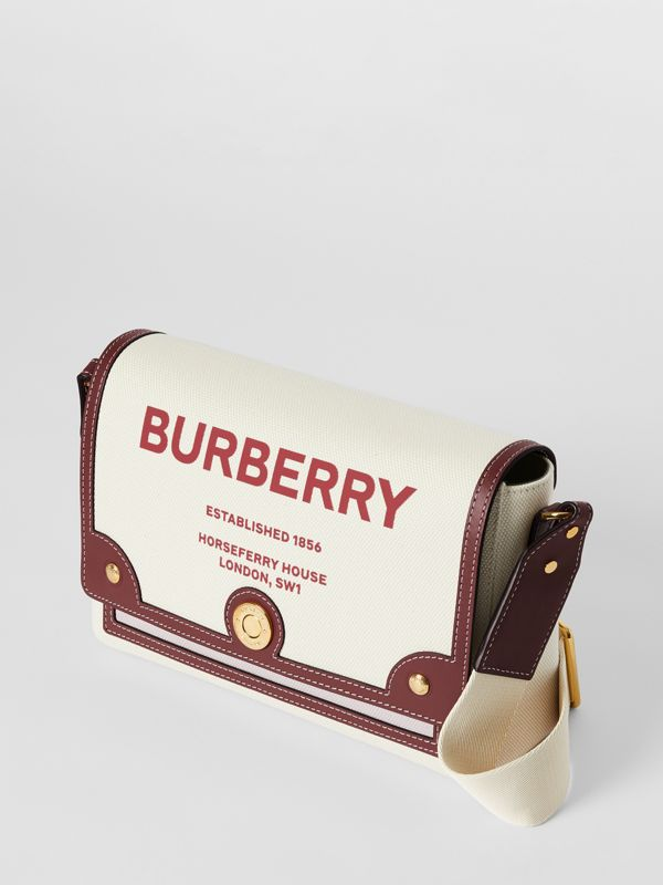 Horseferry Print Canvas Note Crossbody Bag in Natural/garnet - Women | Burberry Canada - cell image 3