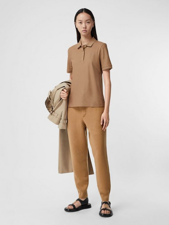 Monogram Motif Cotton Piqué Polo Shirt in Camel