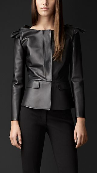 Knotted Shoulder Leather Jacket