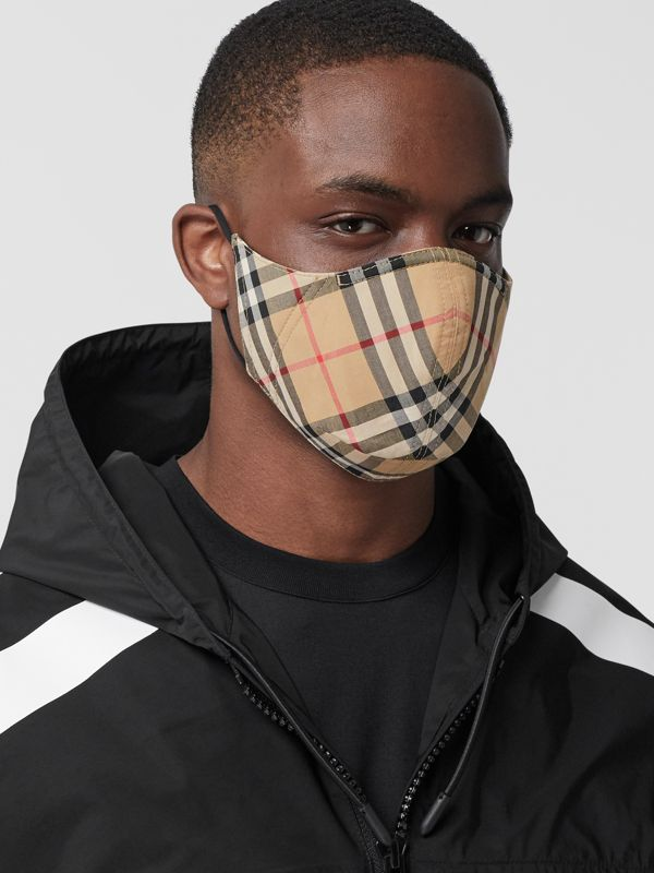 Vintage Check Cotton Face Mask in Archive Beige - Women | Burberry - cell image 3