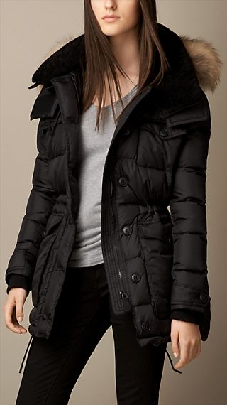 Down-Filled Coat with Fur and Shearling Trim