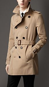 Mid-Length Cotton Gabardine Trench Coat