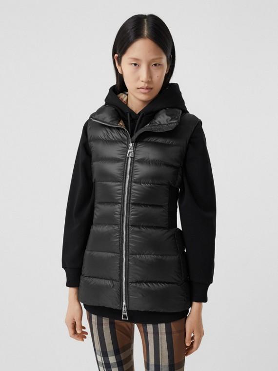 Rib Knit Panel ECONYL® Puffer Gilet in Black