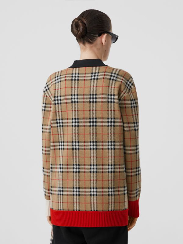 Vintage Check Merino Wool Blend Jacquard Cardigan in Archive Beige - Women | Burberry - cell image 2