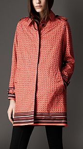Geometric Grid Print Coat