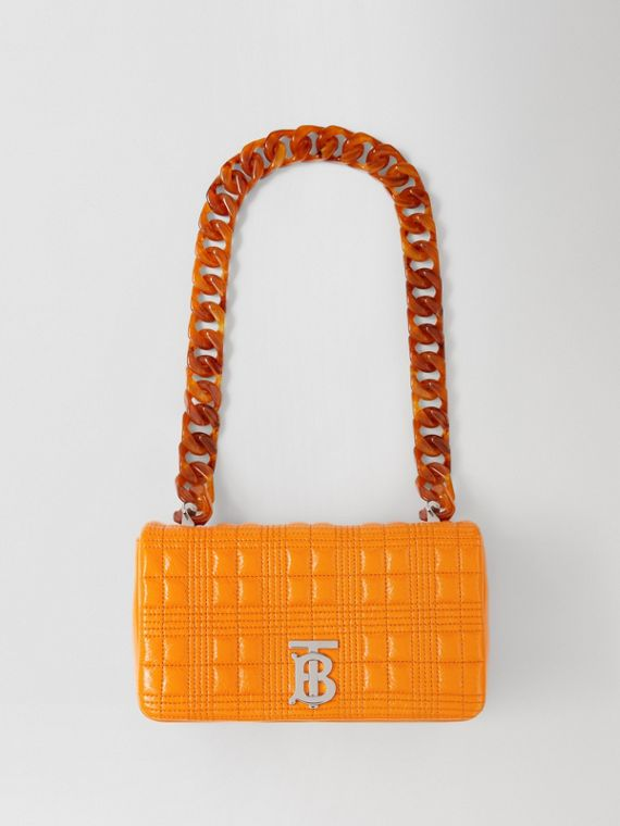 Small Quilted Lambskin Lola Bag in Deep Orange