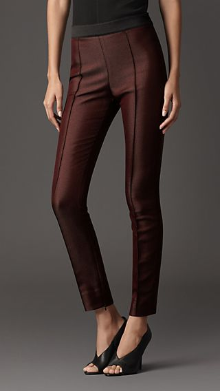 Satin Trim High-Waist Trousers
