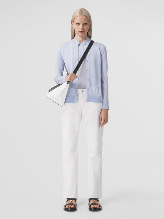 Monogram Motif Wool Silk Cashmere Cardigan in Pale Blue