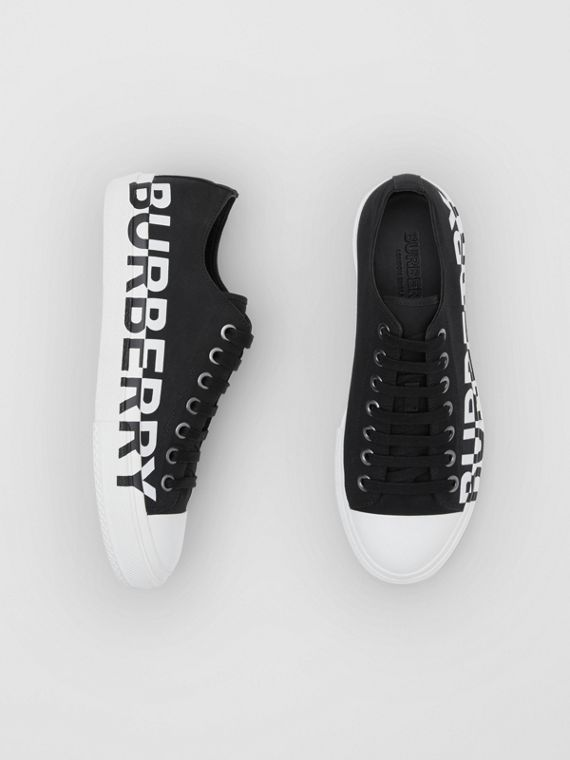Logo Print Two-tone Cotton Gabardine Sneakers in Black/optic White