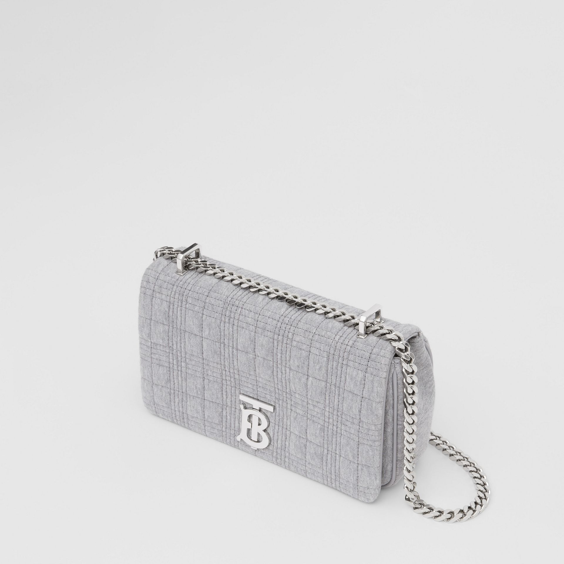Small Quilted Jersey Lola Bag in Grey Taupe Melange | Burberry - gallery image 2