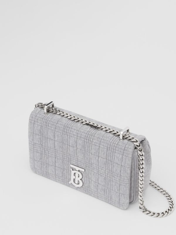 Small Quilted Jersey Lola Bag in Grey Taupe Melange | Burberry - cell image 2