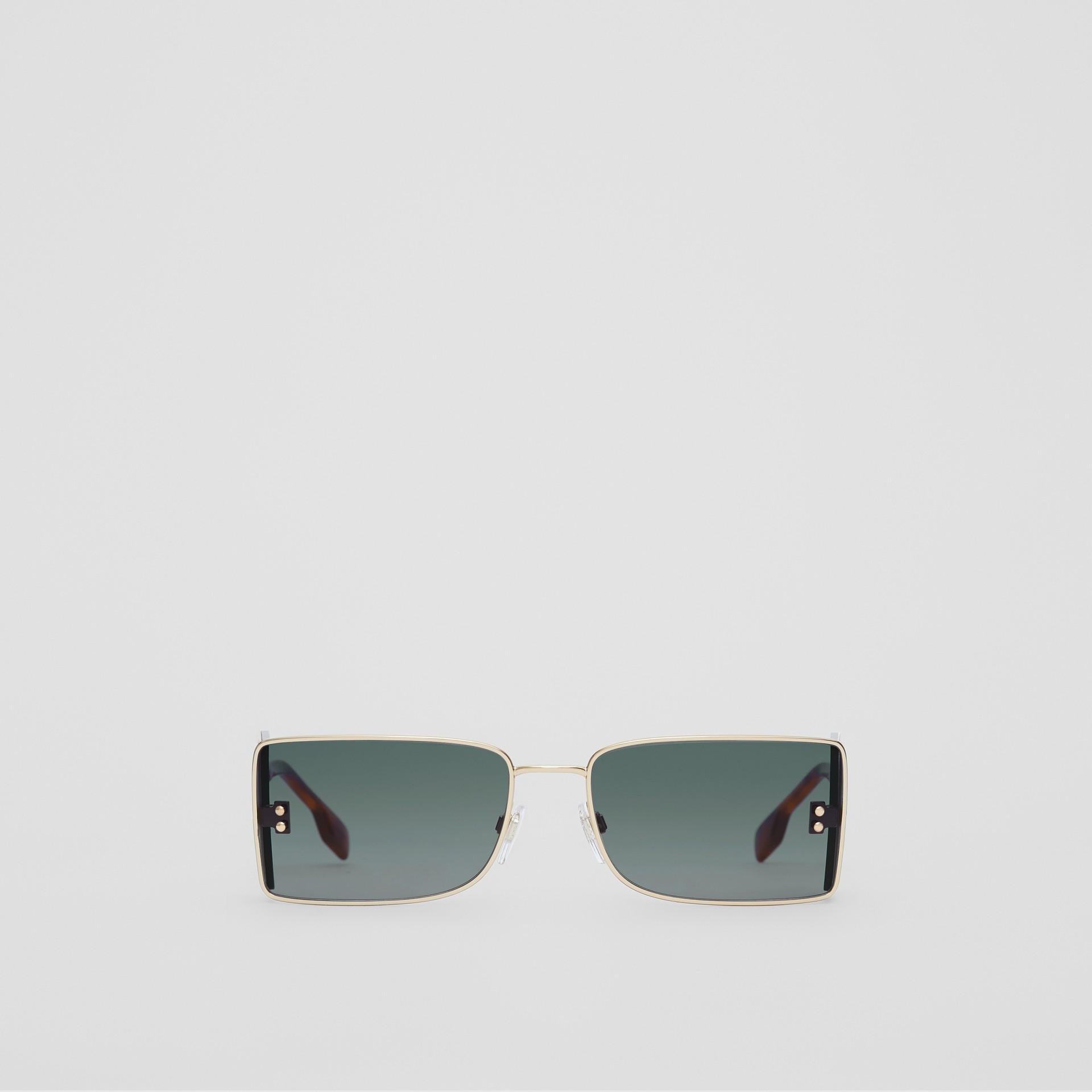'B' Lens Detail Rectangular Frame Sunglasses in Tortoiseshell | Burberry - gallery image 0