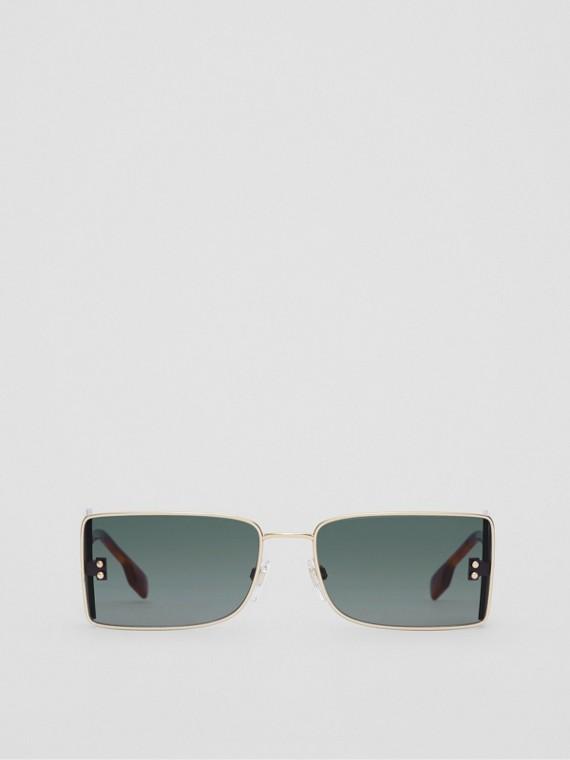 Sonnenbrille mit rechteckigem Gestell und B-Detail (Schildpattfarben)