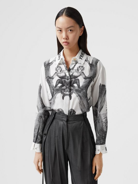 Montage Print Silk Shirt in Monochrome