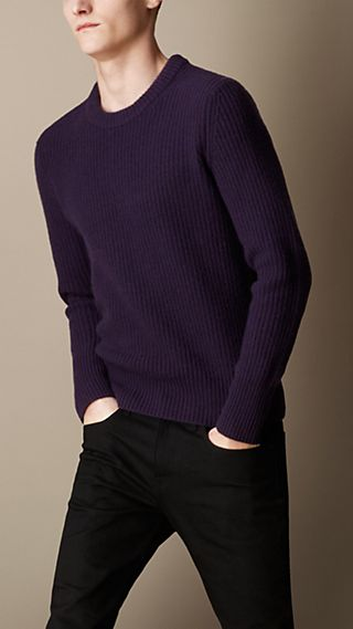 Wool Cashmere Fisherman Rib Sweater