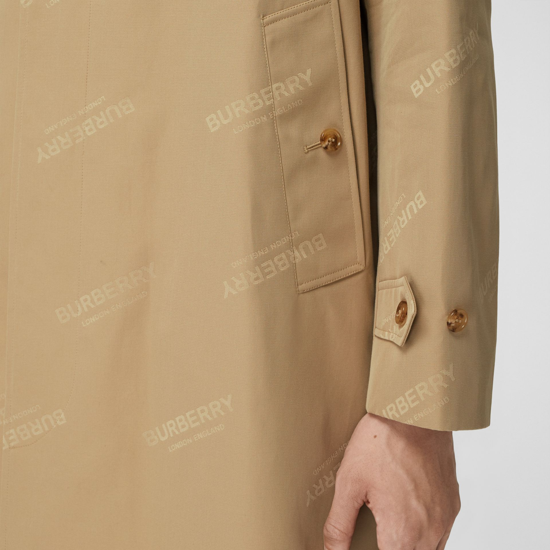 Logo Jacquard Cotton Twill Car Coat in Soft Fawn - Men | Burberry - gallery image 5
