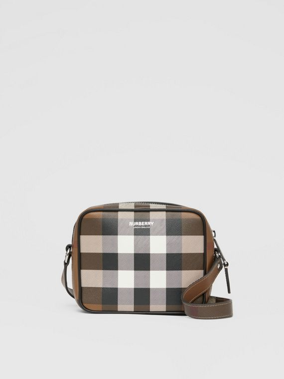 Check Print Leather Crossbody Bag in Dark Birch Brown
