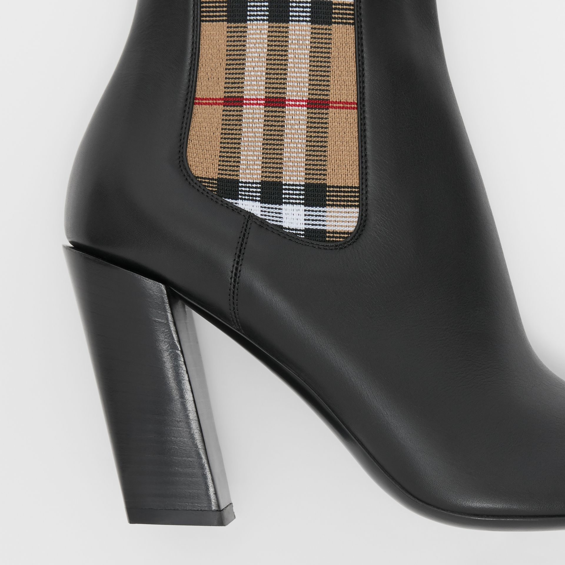 Vintage Check Detail Leather Ankle Boots in Black - Women | Burberry United Kingdom - gallery image 1