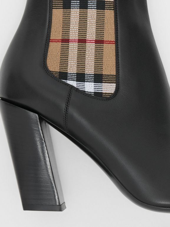 Vintage Check Detail Leather Ankle Boots in Black - Women | Burberry United Kingdom - cell image 1