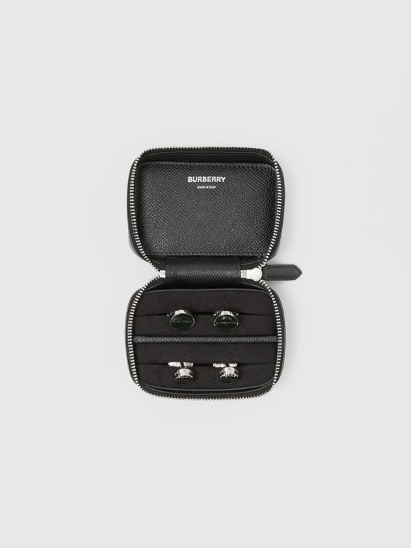 Icon Stripe Print Grainy Leather Cufflink Case in Black - Men | Burberry - cell image 2