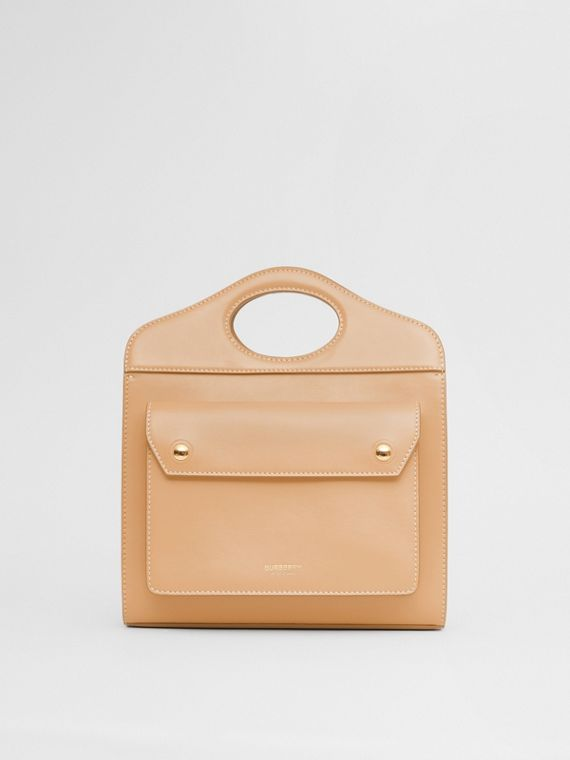 Mini Topstitched Leather Pocket Bag in Warm Sand