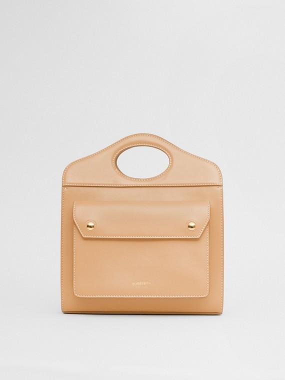 Bolsa Pocket de couro - Mini (Areia Intenso)