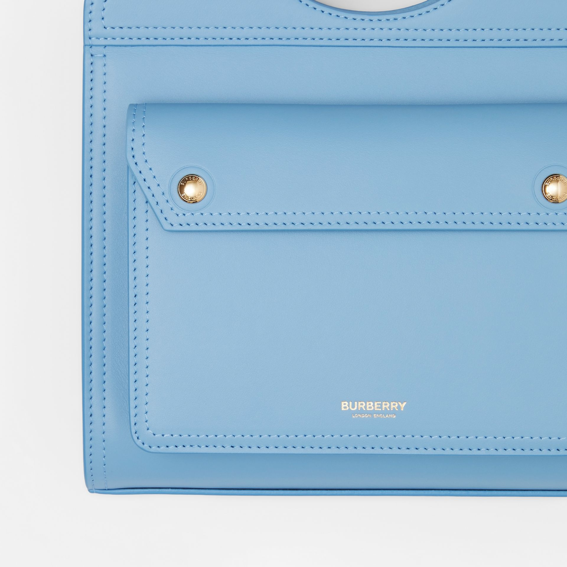 Mini Leather Pocket Bag in Blue Topaz - Women | Burberry - gallery image 1