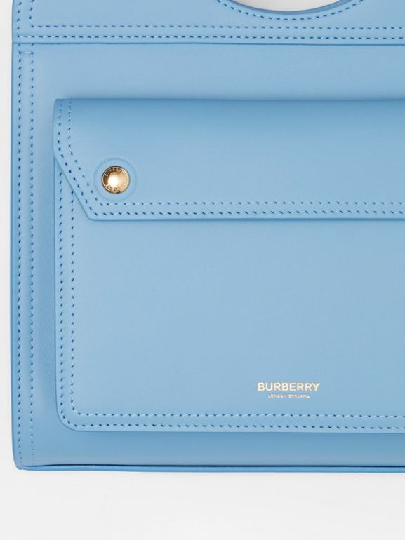 Mini Leather Pocket Bag in Blue Topaz - Women | Burberry United States - cell image 1