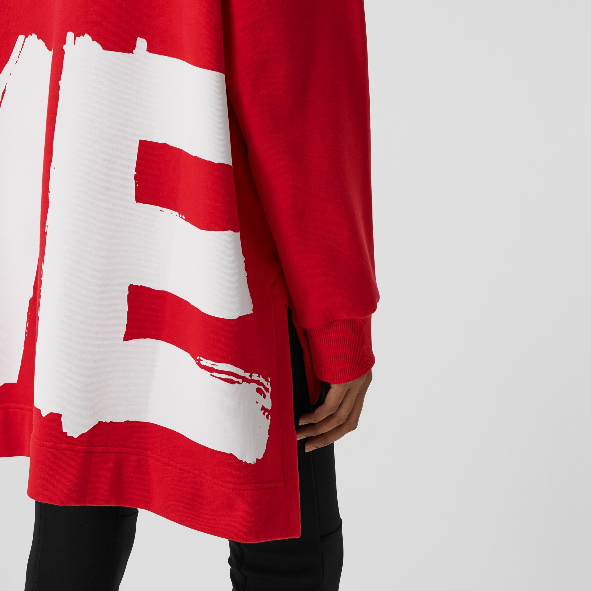 Love Print Cotton Oversized Hoodie in Bright Red - Women | Burberry - gallery image 4