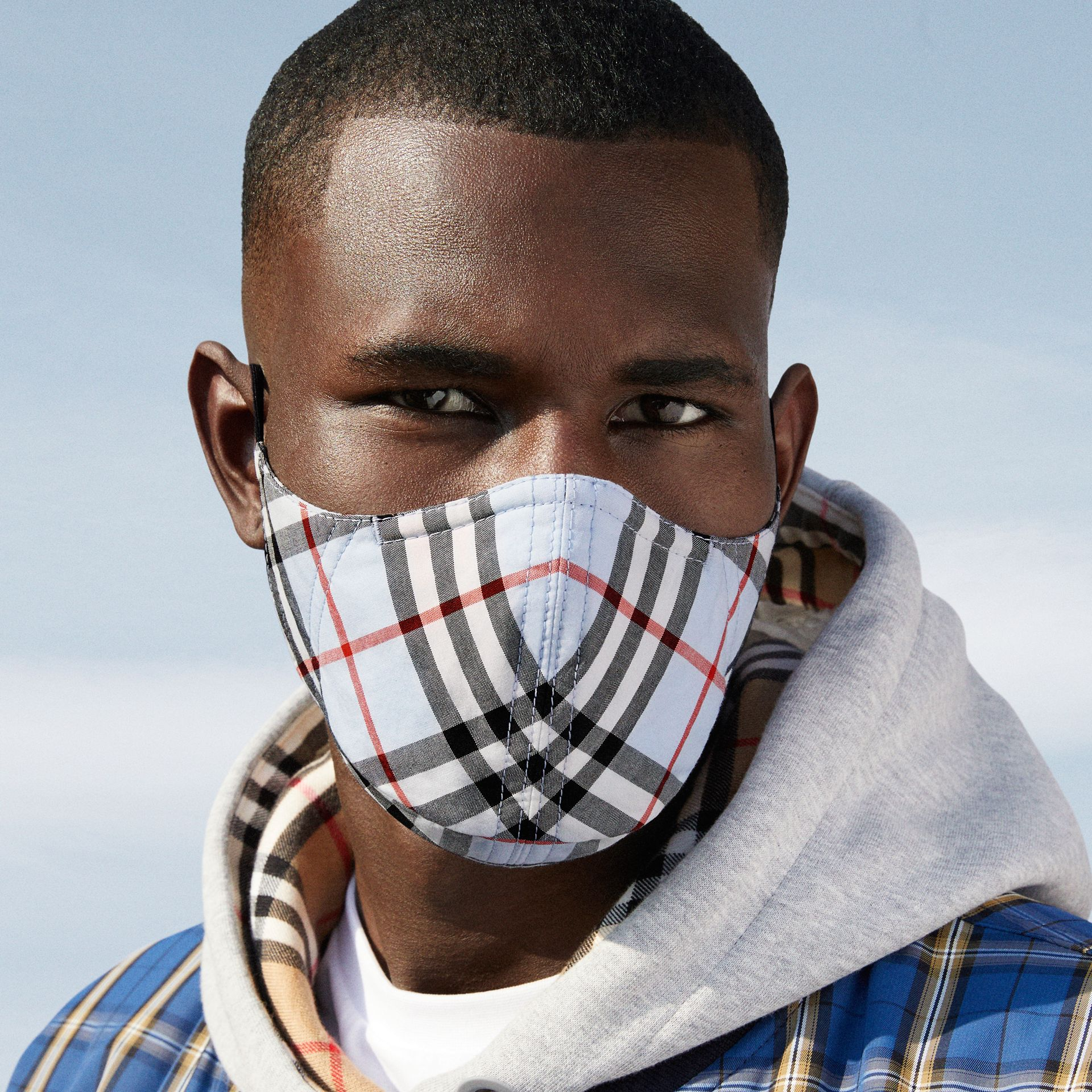 Vintage Check Cotton Face Mask in Pale Blue | Burberry - gallery image 6