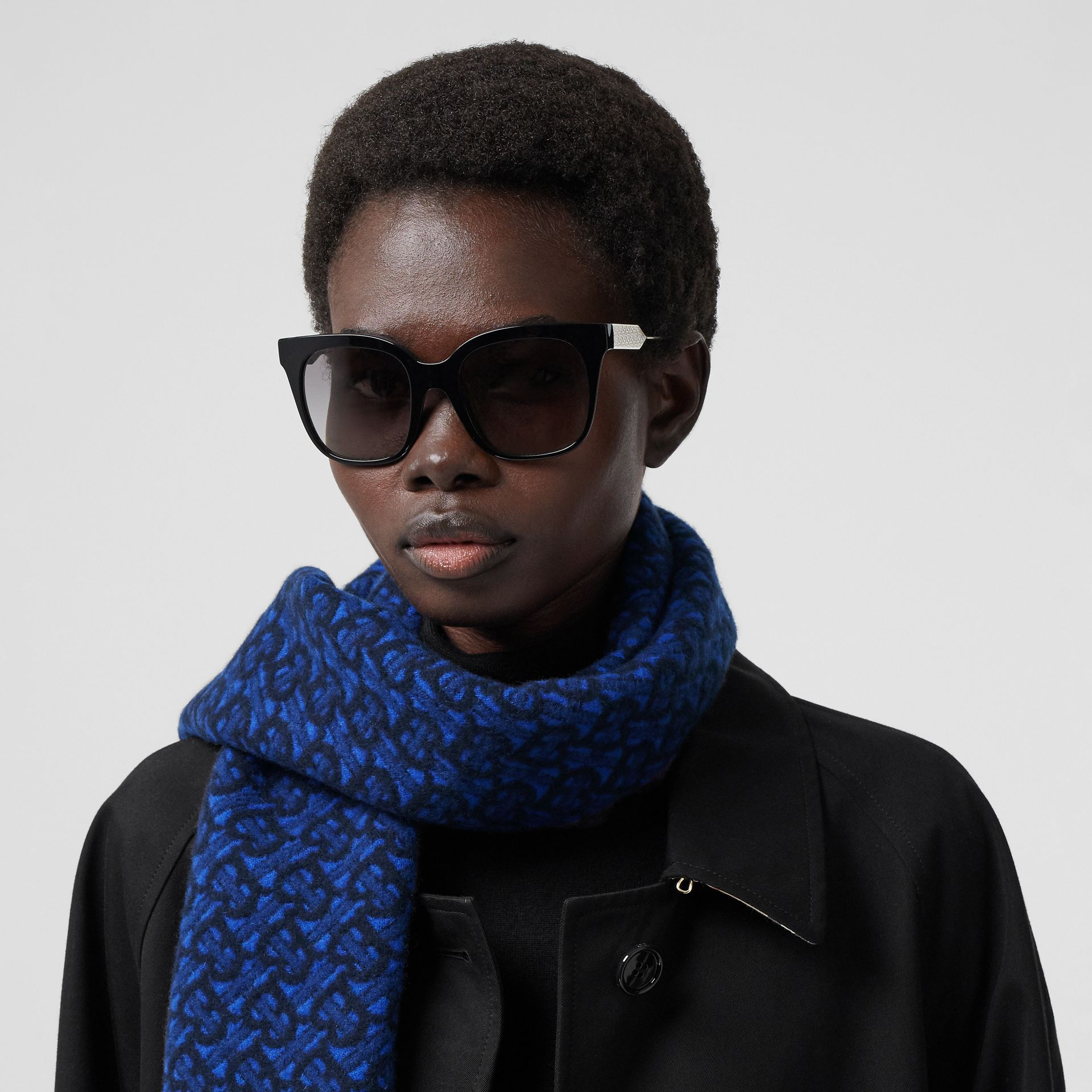 Monogram Cashmere Jacquard Scarf in Azure Blue | Burberry - gallery image 2