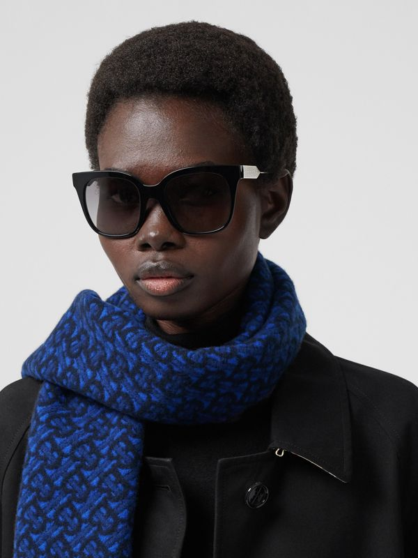 Monogram Cashmere Jacquard Scarf in Azure Blue | Burberry - cell image 2