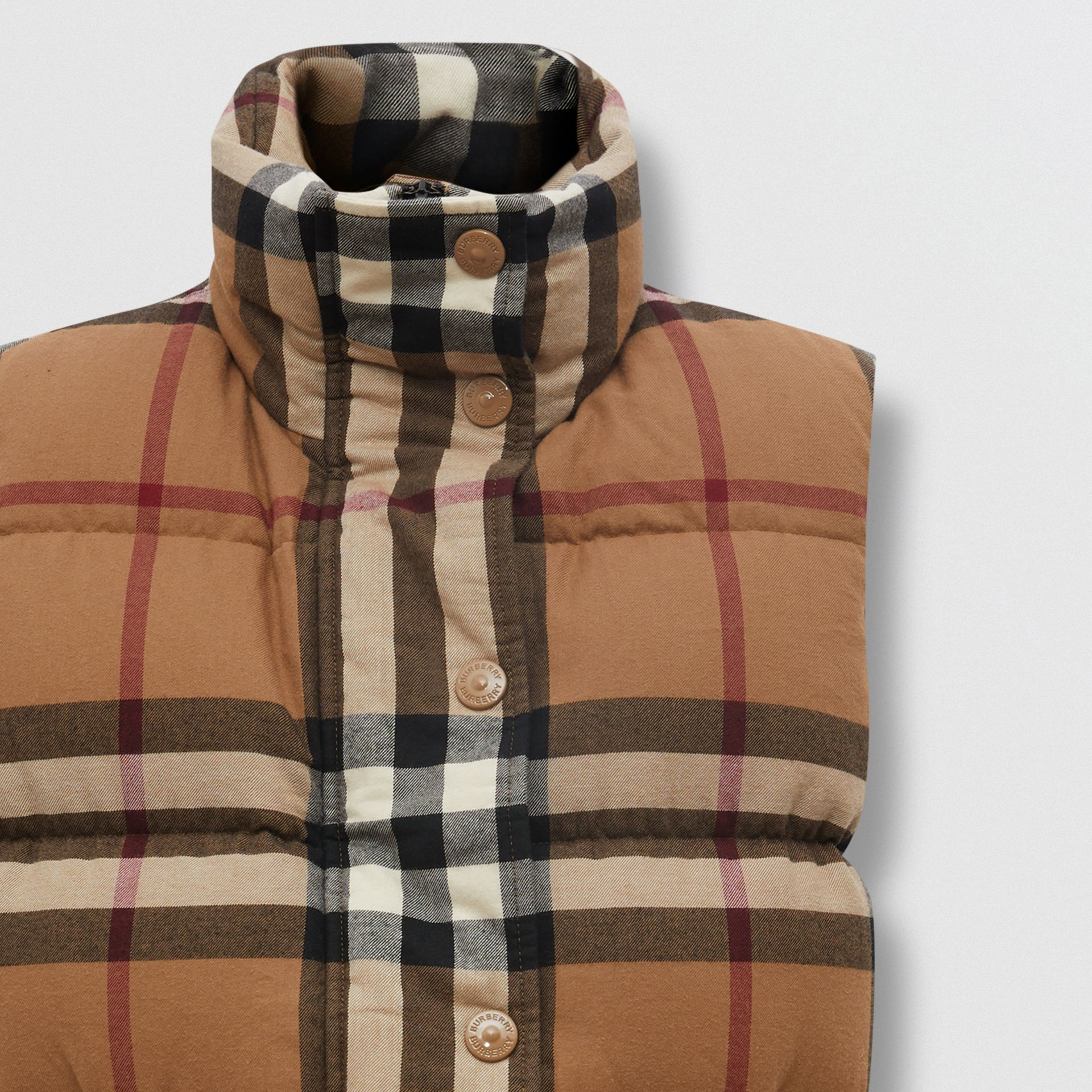 Check Cotton Flannel Puffer Gilet in Birch Brown - Women | Burberry - gallery image 6