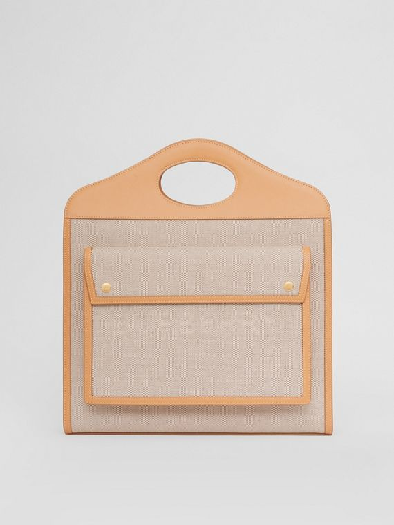 Medium Two-tone Canvas and Leather Pocket Bag in Soft Fawn/warm Sand