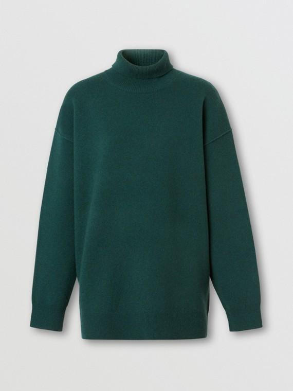 Monogram Motif Cashmere Blend Funnel Neck Sweater in Bottle Green