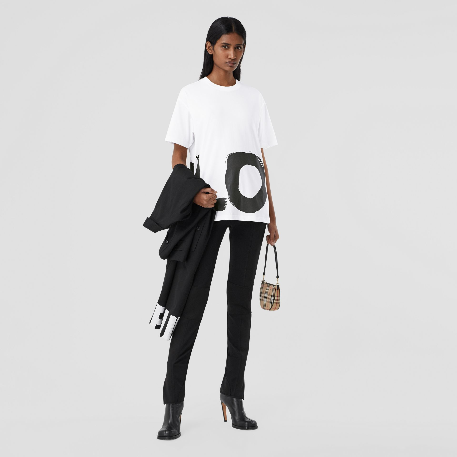 Love Print Cotton Oversized T-shirt in White - Women | Burberry - gallery image 0