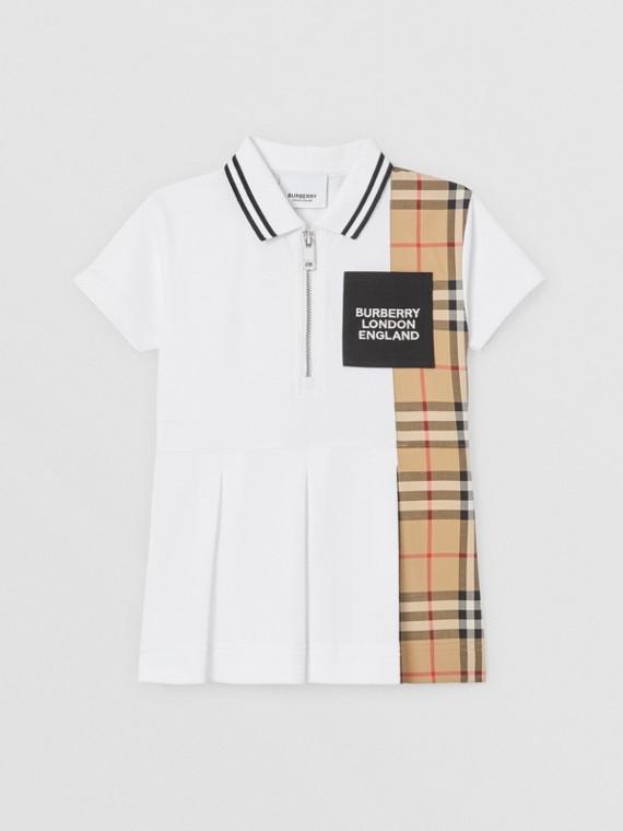 Vintage Check Panel Cotton Piqué Polo Shirt Dress in White