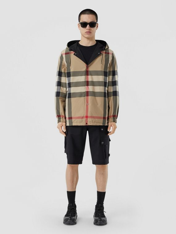 Reversible Check Recycled Polyester Hooded Jacket in Archive Beige