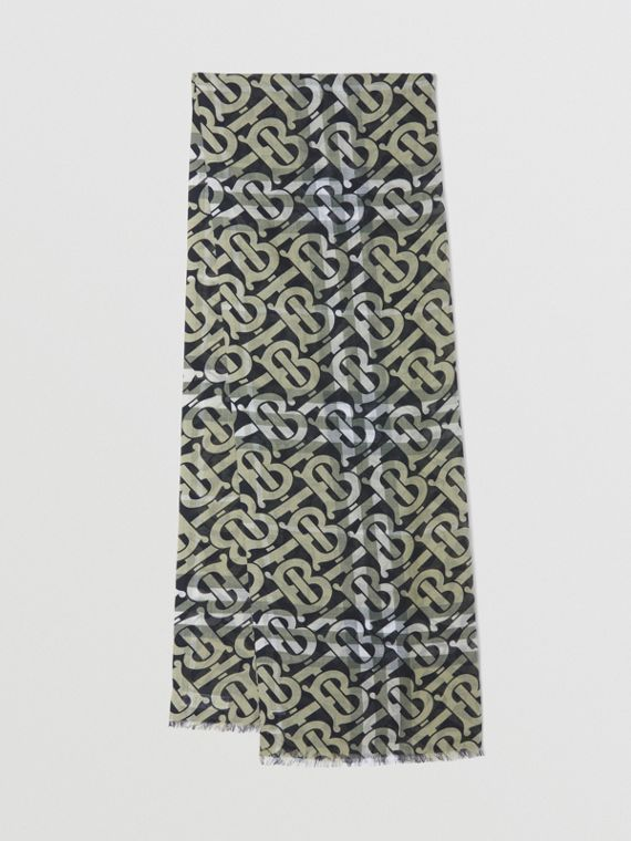 Monogram Print Lightweight Check Wool Silk Scarf in Military Green