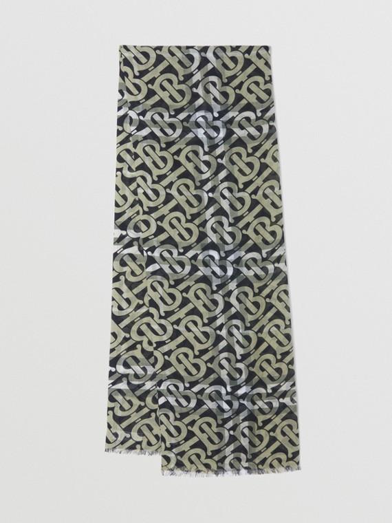 Echarpe de lã e seda com estampa xadrez e monograma (Verde Militar)