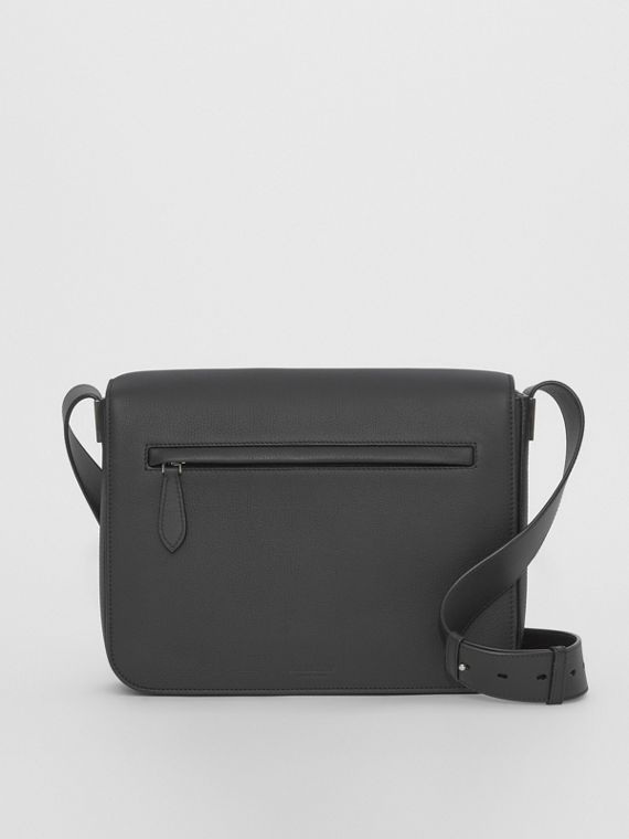 Grainy Leather Messenger Bag in Black