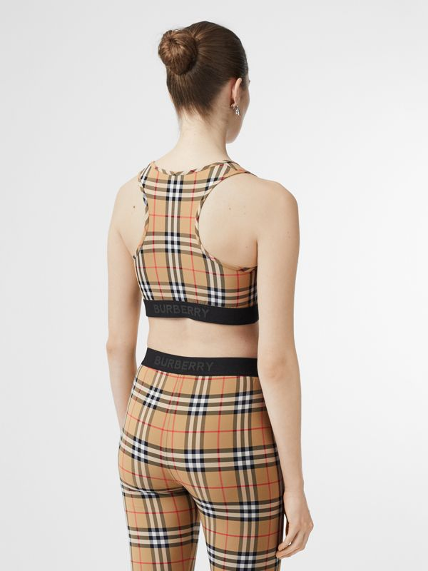 Logo Detail Vintage Check Bra Top in Antique Yellow - Women | Burberry United States - cell image 2