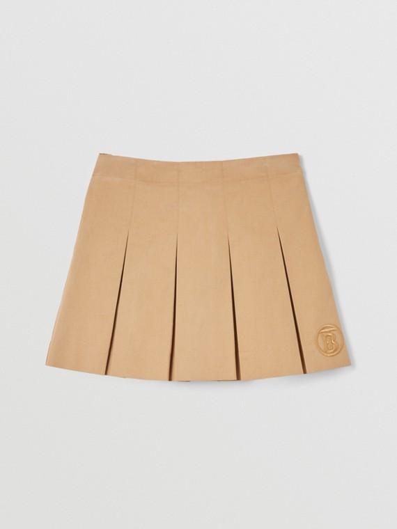 Monogram Motif Cotton Twill Pleated Skirt in Archive Beige