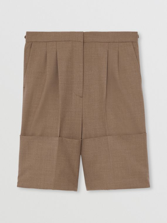 Cuff Detail Wool Tailored Shorts in Deep Taupe