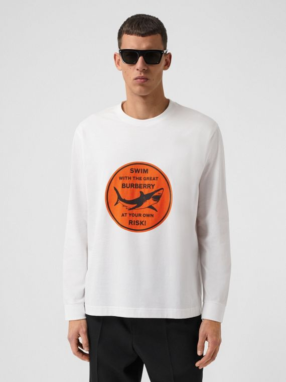 Long-sleeve Shark Graphic Cotton Top in White