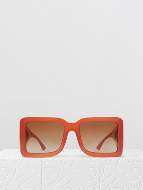 B Motif Square Frame Sunglasses in Orange