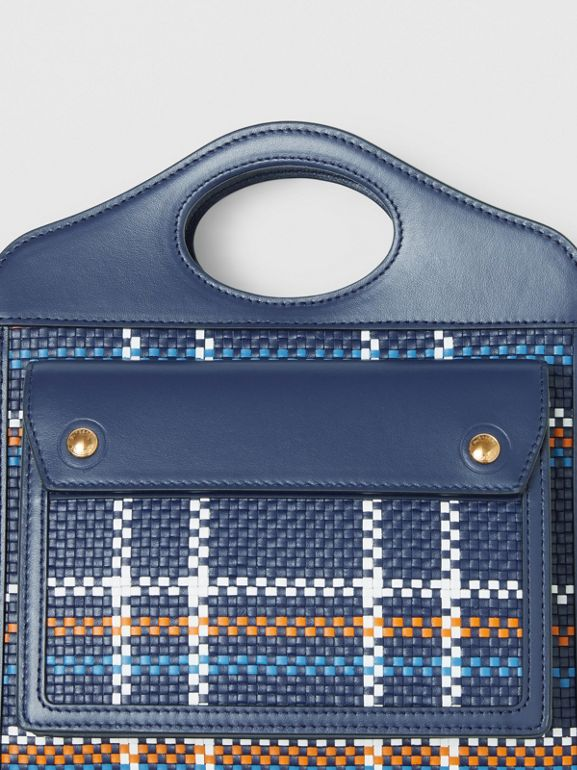 Mini Latticed Leather Pocket Bag in Blue/white/orange - Women | Burberry Canada - cell image 1