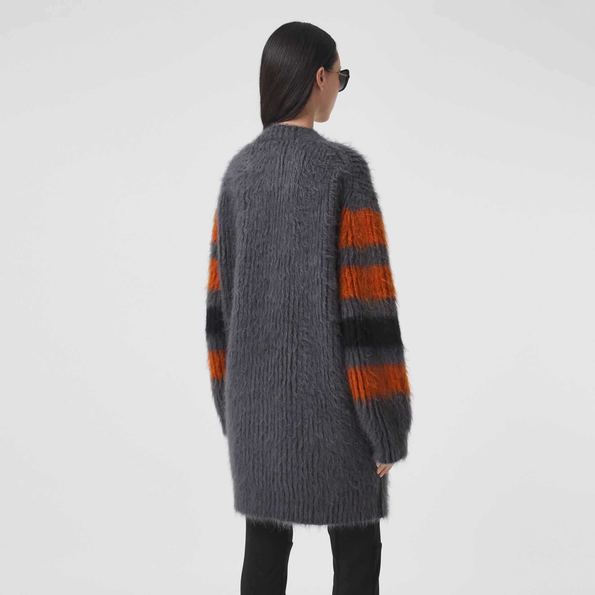 Stripe Intarsia Mohair Silk Oversized Sweater in Dark Grey Melange - Women | Burberry - gallery image 2