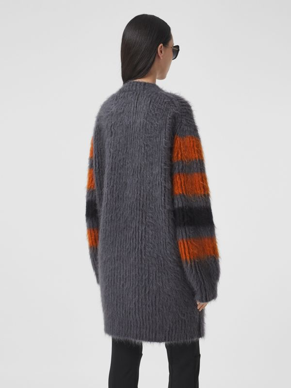 Stripe Intarsia Mohair Silk Oversized Sweater in Dark Grey Melange - Women | Burberry - cell image 2