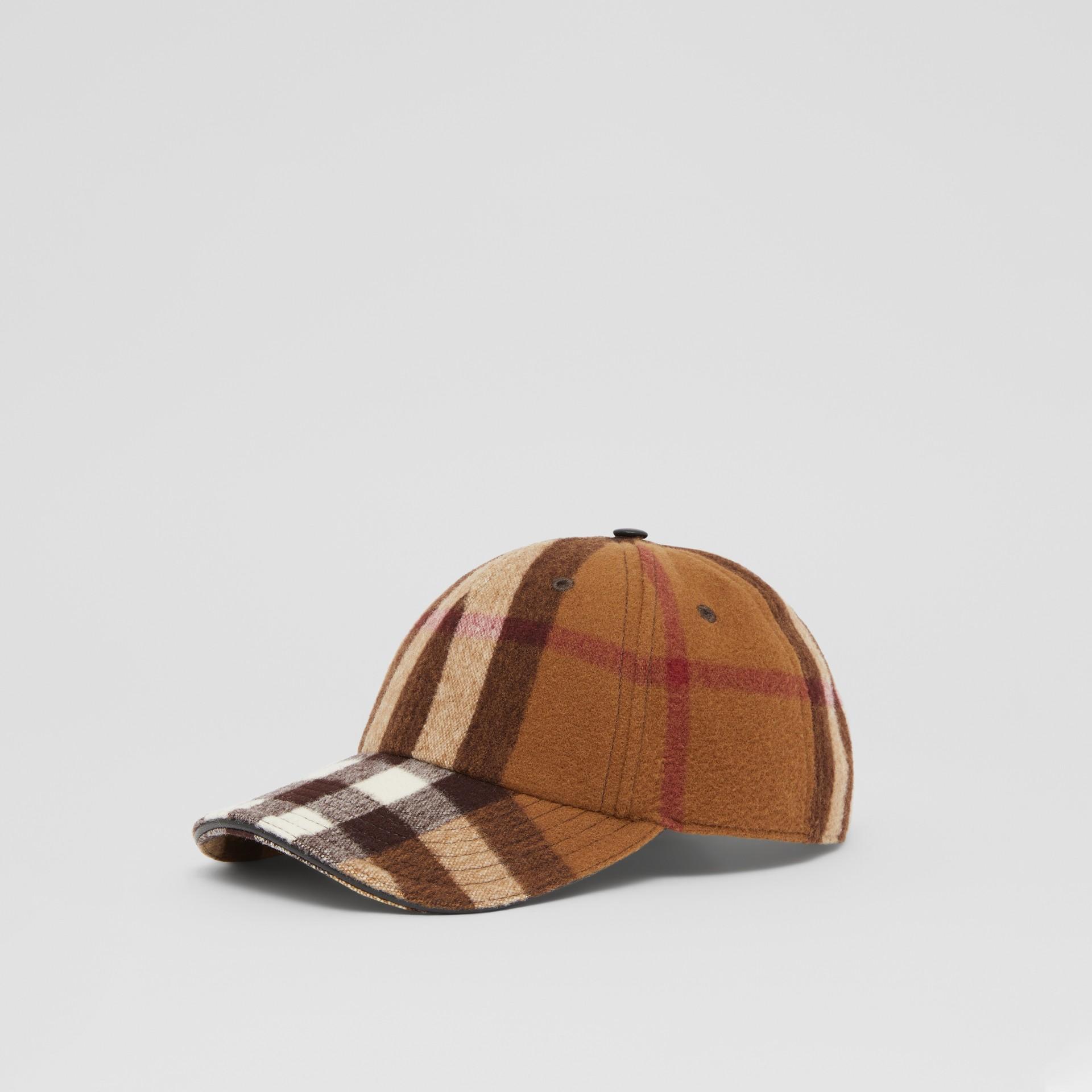 Lambskin Trim Check Wool Baseball Cap in Birch Brown | Burberry - gallery image 5